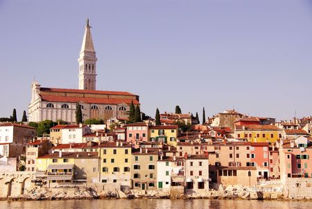 historica: The medieval city Rovinj, Croatia, with the Saint Euphemia church