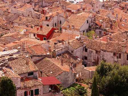 Overlook over the houses with its roofs in Rovinj, Croatia Stock Photo - 3197442