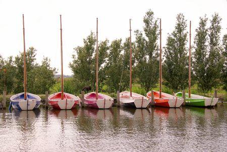 mooring bollards: Colorful sailing boats