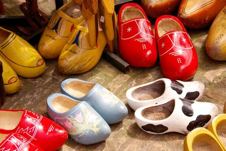 Painted old wooden shoes
