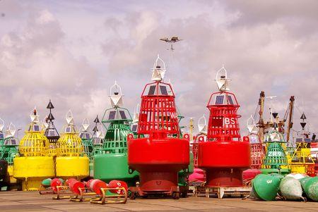 buoys: Colored buoys at maintenance