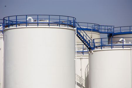Tanks for stored oil Stock Photo