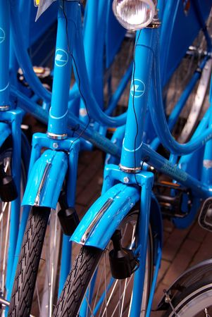 Close-up of blue bikes photo
