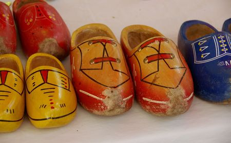Painted wooden shoes photo