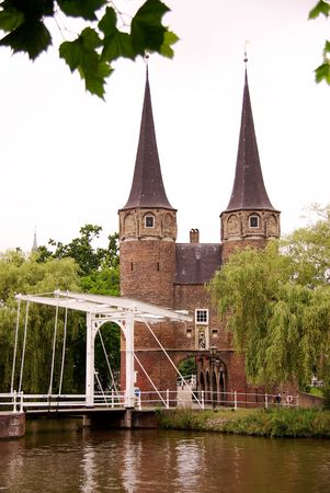draw bridge: The historical east gate of Delft, the Netherlands Stock Photo