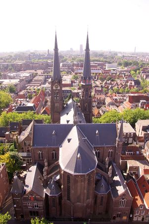 View at Delft with the Maria Jesse church Stock Photo - 3366635