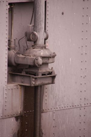 nautical structure: a detail of a door af a lock chambers complex between a river and a canal
