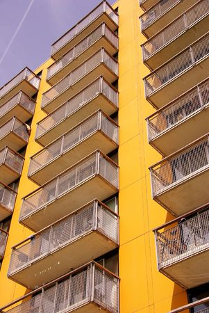 appartment: An yellow appartment building