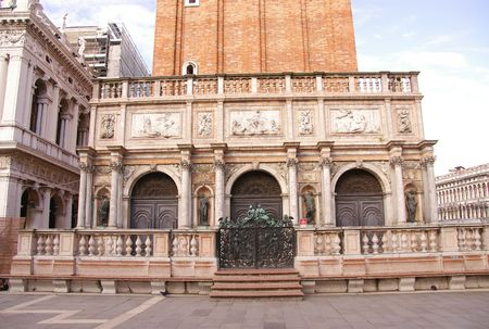 The entrance to the St Marks campanile in Venice, Italy photo
