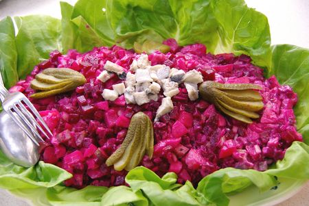 A beetroot and herring salad Stock Photo