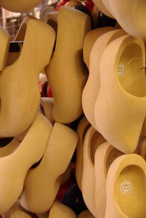 Unpainted wooden shoes photo