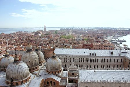 View at Venice with yhe Doges palace and st Marks basilica in front photo