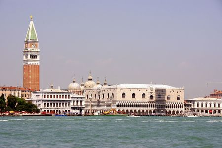 campanille: The Doges palace and St Mark campanille, seen from the canal Grande in Venice, Italy
