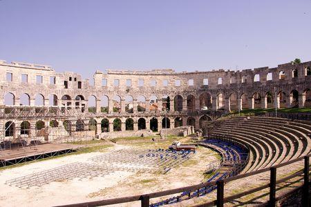 skylight: The roman amphitheatre in Pula, Croatia