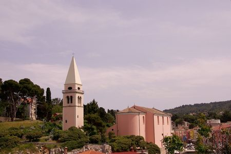 campanille: The pink campanille and the church of St. Anthony in Veli Losinj, Croatia