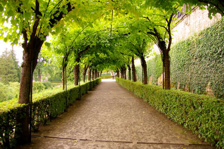 An arcade in the court garden of the Wurzburg residence Stock Photo