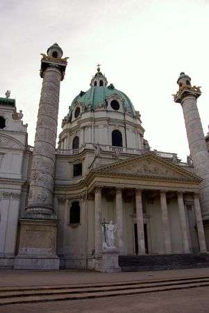 neoclassic: The Charles church (Karlskirche) in Vienna, Austria Stock Photo