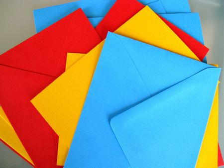 Colorful greeting cards and envelops photo