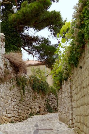 krk: a food path along the old city wall of Krk in Croatia