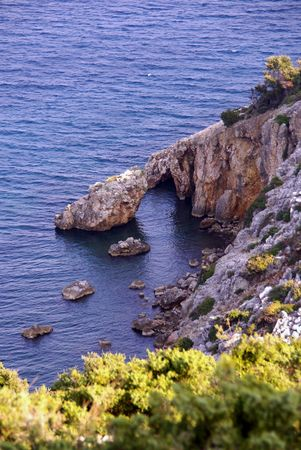 lopsided: The cliffs of the island Rab in Croatia