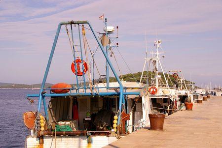 wheelhouse: Fishing boats at a Croatian island Stock Photo