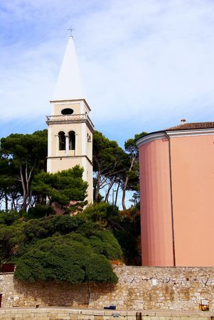 campanille: The church and campanille of the St anthony church in Veli Losinj in Croatia