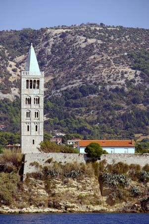 The bell tower of St andrew in Rab town at Rab island in Croatia Stock Photo - 4097198
