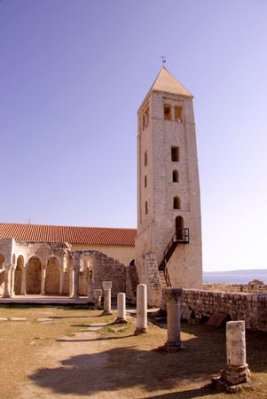 Remains of the monastery of St John and its bell tower in Rab at the island Rab in Croatia Stock Photo - 4097111
