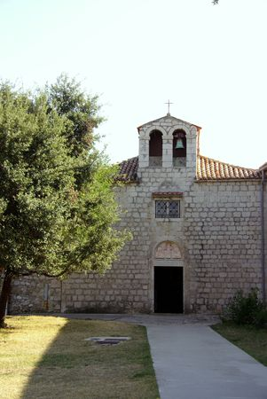 Church and monastery of St antony teh abbot in Rab town in Croatia photo