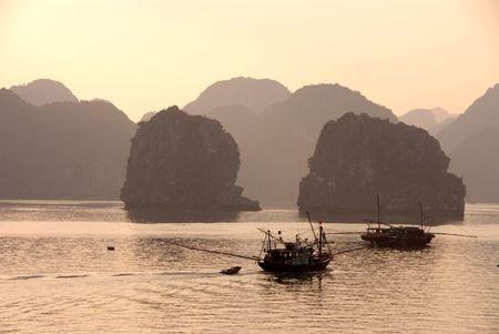 Fishing boats at Halong bay in Vietnam