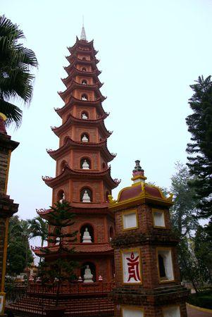 tran: The Tran Quoc pagoda in Hanoi in Vietnam