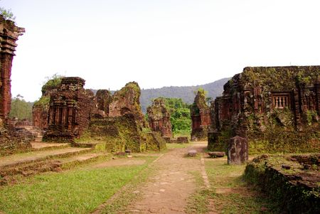 vividly: The complex of champa atchitecture in My Son in Vietnam Stock Photo