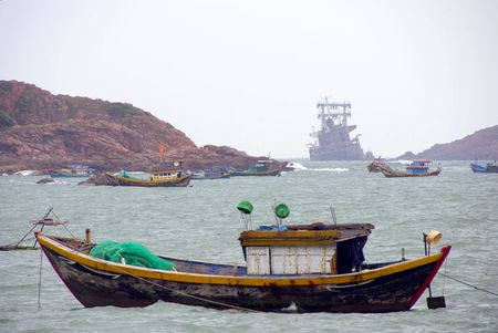fishingboats: Fishing boat in bad weather at the coast of Vietnam