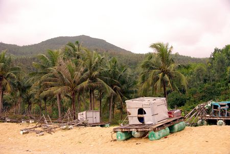 qui: A fishing raft at the beach of Qui Nhon in Vietnam