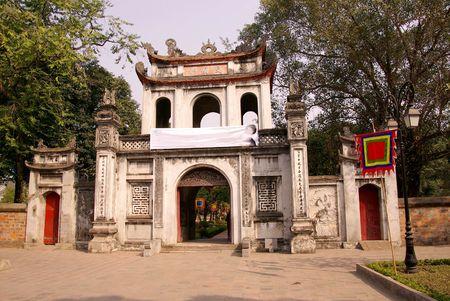 The temple of literature in Hanoi in Vietnam