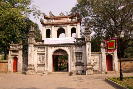 The temple of literature in Hanoi in Vietnam