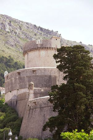 The defense towers and wall of Dubrovnik in Croatia Stock Photo - 5162828