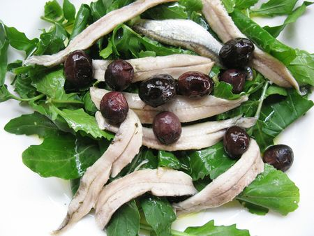 Anchovy and olives salad