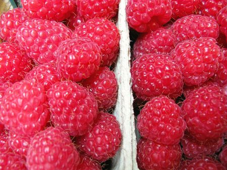 Raspberries in boxes Stock Photo - 5280919