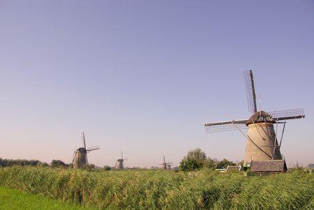 watermills: One of the mills of Kinderdijk Stock Photo
