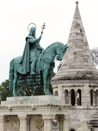 The statue of saint Stephen in Budapest photo