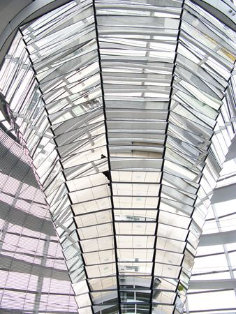 The interior of the dome of the Reichstag in Berlin photo