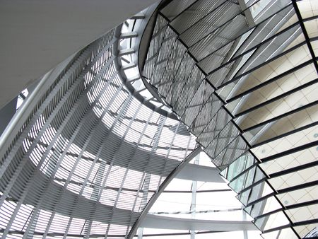 The interior of the dome of the Reichstag in Berlin