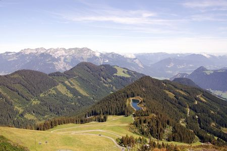 fuegen: A landscape in the Austrian Alps Stock Photo