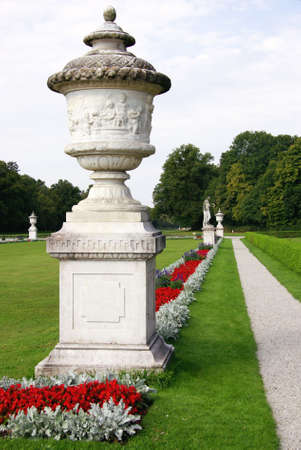 nymphenburg palace: The garden of the Nymphenburg palace in Munich in Germany Stock Photo