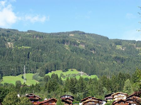 fuegen: A view at the austrian Alps withe Alpine chalets