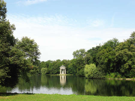 nymphenburg palace: View at an arbour in the park of the Nymphenburg palace in Munich in Germany
