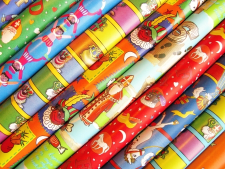 characterizing: Wrapping paper for the dutch Sinterklaas celebration Stock Photo