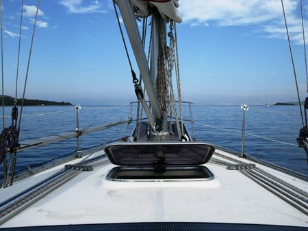 The deck of a sailing yacht photo