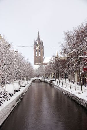 Snow in the city of Delft in the Netherlands photo